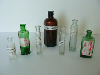 7 Different Vintage Coloured Glass Apothecary Bottles (5)