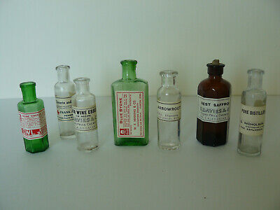 7 Different Vintage Coloured Glass Apothecary Bottles (7)