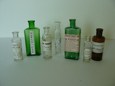 7 Different Vintage Coloured Glass Apothecary Bottles (8)
