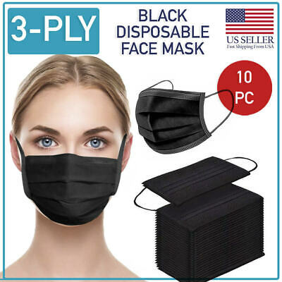 Disposable Black Face Mask 10 PCS 3-Ply Medical Surgical Ear-Loop Mouth Cover
