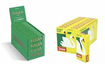 1200 Rizla Green Cigarette Rolling Papers and 1200 Swan Extra Slim Filter Tips