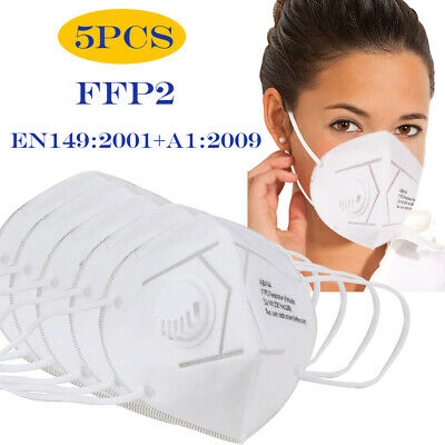 5 Pack KN95 Face Mask Mouth Cover With Valve 5 Layers Protection Respirator FFP2