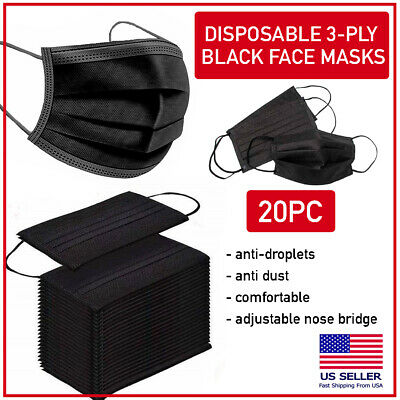 20 PCS Black Disposable Face Mask Triple Ply Ear-Loop Mouth Cover