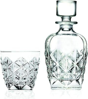 RCR Enigma Italian 7-Piece Crystal Glass Whisky Decanter and DOF Tumblers Set