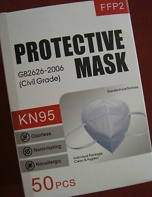 KN95 Face Mask Respirator 50 Pack PM2.5 Breathable 4-Layer Protection