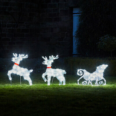 Fluffy Reindeer&Sleigh Outdoor LED Christmas Decoration Plug In Timer Lights4fun