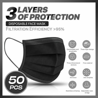 [50 PCS] Black 3-Ply Disposable Protectiv Face Mask Surgical Earloop Mouth Cover