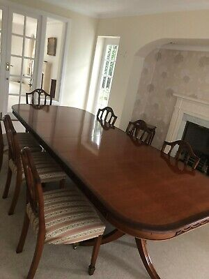 Large Extendable Mahogany Dining Table And 8 Chairs 265 00 Picclick Uk