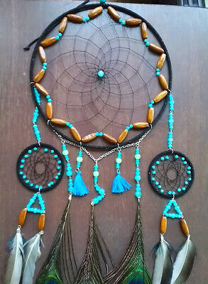 Nouveau Petit Bleu Turquoise Bead Dream Catcher Native American Wall Hanging mobile
