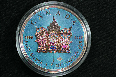 2019 Canada FAMILY DAY Bejeweled Coin 1 Oz Silver 24K Rose Gold Display & COA