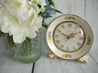 Antique Smiths Porcelain Small Bedroom Floral Design Clock. Made in Gt Britain