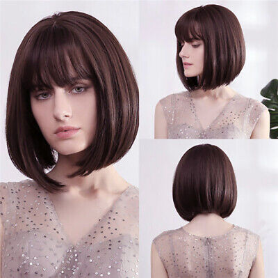 Fashion Womens Ladies Natural Short Straight Bob Style Hair Wigs Ombre Full Wig