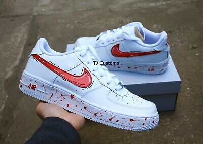 Nike Custom Air Force 1 Cartoon Blue Swoosh 154 00 Picclick
