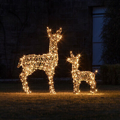 Outdoor Christmas Pre Lit LED Rattan Reindeer Family Plug In Timer by Lights4fun
