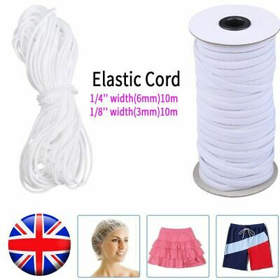 Uk 3mm 6mm 10m 100m Elastic Band Round Flat Sewing Rope White Cord
