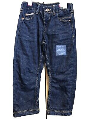 BNWT M&S Autograph Jeans Size Age 2-3 Years Boys Dark Blue Smart Trousers Soft
