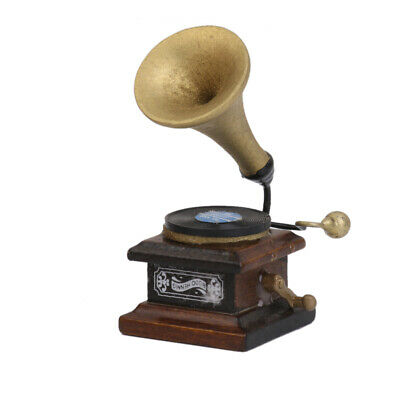"""DOLLS HOUSE MINIATURE PICTURE /""""HMV Dog /& Gramophone/""""  Wood Frame 1:12th scale"""