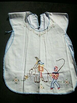 Vintage Baby Bib Circus Embroidery Infant Cover