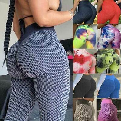 Womens High Waisted Yoga Pants Anti-Cellulite Leggings Ruched Gym Sports Fitness