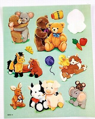 American Greetings Cute Stuffed Animal Stickers Horse Teddy Bear Pig Cow Dog