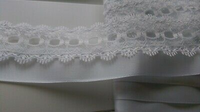 Beautiful Knitting In Lace White With White Double Sided Satin Ribbon Trim