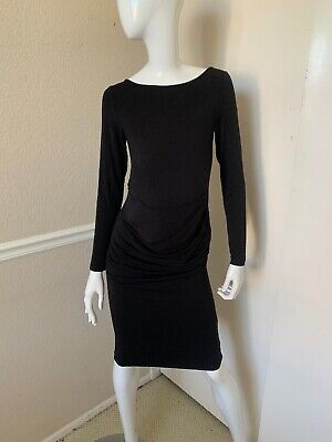 Ingrid & Isabel Maternity Black Micromodal Jersey Ruched Bodycon Dress Sz S