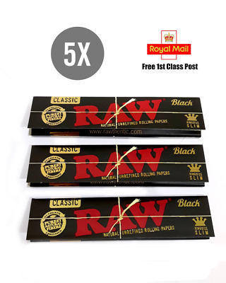 5x RAW Black Rolling Papers King Size KS Slim Classic Natural Unrefined Skins UK