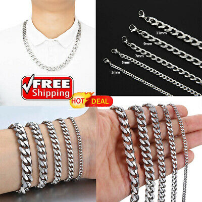 50-70cm Stainless Steel Silver Tone Chain Cuban Curb Mens Necklace 3/5/7/9/11mm