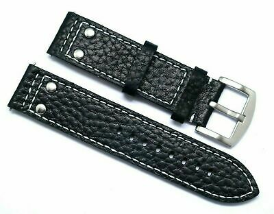 22mm Black Rivet Style Leather Replacement Watch Band - TW Steel 22 & Others