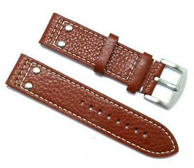 22mm Brown Rivet Style Leather Replacement Men Watch Strap TW Steel 22 & Others