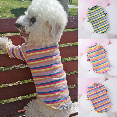 Various Cute Pet Dog Clothes Rainbow Striped T Shirt Vest Summer Small Cat Puppy