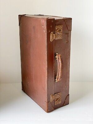 Sturdy Vintage 1950s Leather Suitcase Luggage Unique Storage Monogrammed I.M.A