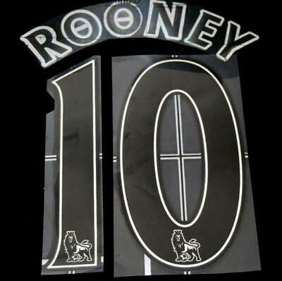 Official Manchester United rooney 10 Football Shirt Name Set Lextra 2007-13