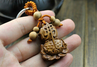 Wood Carving Chinese Buddha Lotus Buddhism Statue Sculpture Pendant Key Chain