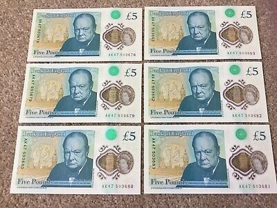 Rare 6 x AK47 Brand New Uncirculated Polymer £5 Banknotes In Consecutive Numbers