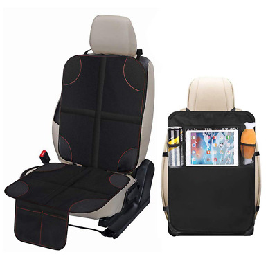 Car Seat Protector Back Kick Mat Organizer Black Waterproof Seat Cover Padding P