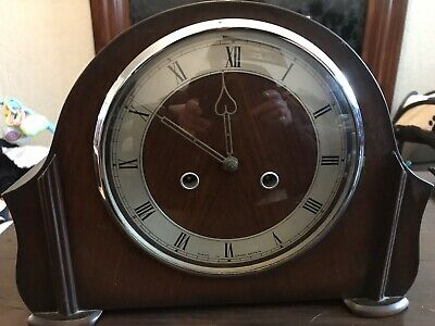 Vintage Smiths Enfield Mahogany Case Mantle Chime Clock.