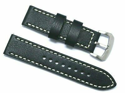 22mm Replacement Black Leather Contrast Stitch Watch Band - TW Steel 22 & Others