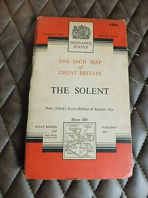 Vintage Ordnance Survey Map, cloth backed, 1 Inch 1960, The Solent