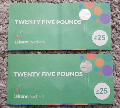 £50 Leisure Vouchers (2 x £25) Expiry 31st May 2021