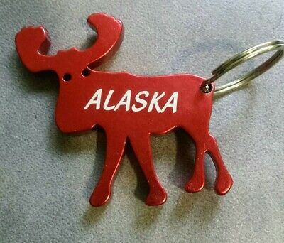 """Blue Background Metal KEYCHAIN . CANADA Country Flag MOOSE Size : 1 1//2/"""" x"""
