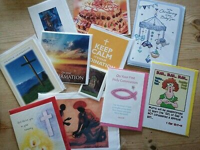 11 Wrapped Religious Greetings Cards Confirmation Ordination Christening, etc.