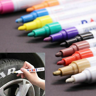 Waterproof Permanent Paint Marker Tire Tread Lettering Rubber Metal Pen 12Colors
