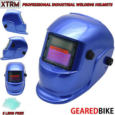 Auto Darkening Welding Grinding Helmet With Solar Panel IV UV Protection BLUE