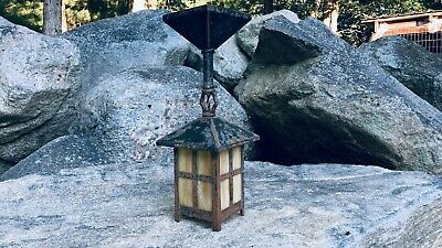 Antique Arts & Crafts Mission Slag Glass Ceiling Porch Foyer Light