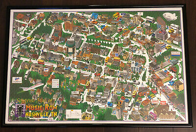 Music Row Nashville Illustrated Map Designed In 1993