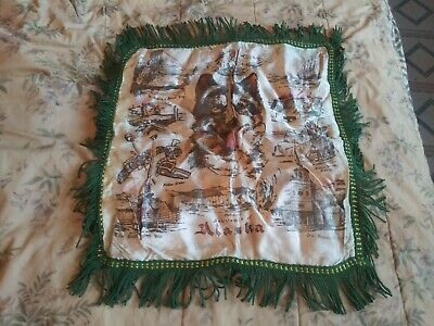 Vintage 1940'S Alaska Silk Souvenir Pillowcase With Green Fringe 16.5""