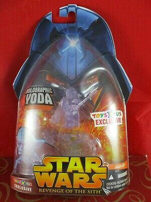 Star Wars ROTS Holographic Yoda Action Figure Exclusive By Hasbro 2005 NEW t474