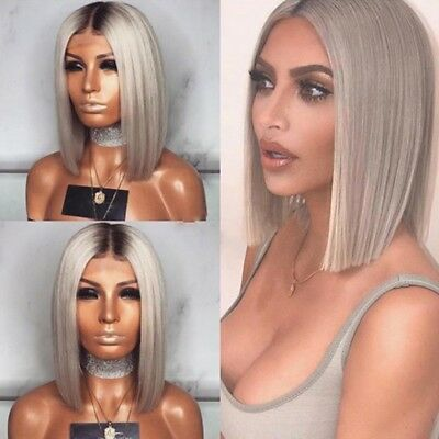 Womens Grey Ombre Short Straight Hair Wigs Ladies Bob Style Natural Cosplay Wig