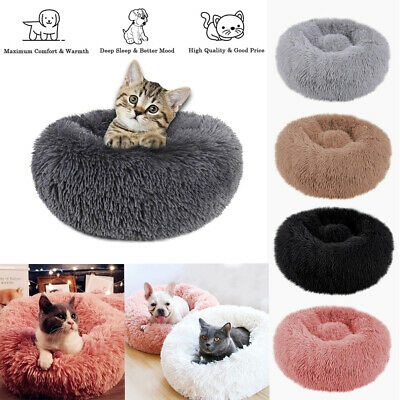 Round Plush Donut Pet Bed Fur Donut Cuddler Warm Soft Dog Cushion Calming Bed